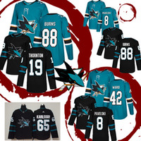 camisas camuflagem hóquei venda por atacado-San Jose Sharks Hockey Jersey 8 Joe Pavelski 88 Brent Burns 19 Joe Thornton 42 Joel Ward Jerseys