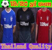 ingrosso maglia nero-Qualità tailandese 2019 Rangers FC Home Blue Soccer Maglie 19 20 Glasgow Rangers Away Black Football Uniform