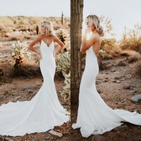 Wholesale strapped silk wedding dress for sale - Group buy 2020 Sexy Backless Mermaid Wedding Dresses Simple Designed Spaghetti Strap Appliques Sweep Train Summer Boho Garden Bridal Gowns Cheap