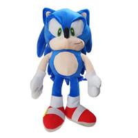 neue mädchen puppen großhandel-Neue 48 cm Sonic the Hedgehog Plüsch Rucksäcke Weiche Schultasche Blau Gefüllte Figur Puppe Kinder Jungen Mädchen Spielzeug Geschenk