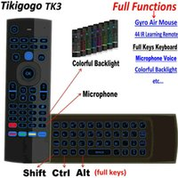 ingrosso imparare la tastiera-Tikigogo Tk3 2.4g Air Mouse Keyboard Retroilluminazione 44 Ir Learning Ricerca vocale per Android Smart Tv Box Pc Pk Mx3 T3 Telecomando T190628