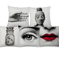 bej yastıklar toptan satış-Fornasetti Portre Minder Kapak Güzellik Yüz Seksi Dudak Bej Keten Yastık Kapak 45X45 cm Kanepe Sandalye Dekorasyon