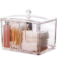 ingrosso q portautensili-Clear Acrylic Makeup Organizer Q tips Tampone di cotone Titolare del tampone di pulizia e contenitori di stoccaggio del tampone 4 sezioni