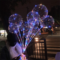 Wholesale multicolor night light resale online - NEW LED Lights Balloons Night Lighting Bobo Ball Multicolor Decoration Balloon Wedding Decorative Bright Lighter Balloons With SticK