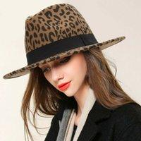 fedoras vintage al por mayor-Manera de la vendimia Hombres Mujeres duro sombrero de fieltro de ala ancha del partido formal de Fedora del sombrero flexible Panamá del casquillo del sombrero del leopardo del gángster