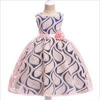 ingrosso ragazze ragazze tessuto abiti-Abiti estivi per bambini Fashion Lace Jacquard weave Flower Princess Tutu Bambini Party Dress Designer Abbigliamento Ragazze 3-7 anni