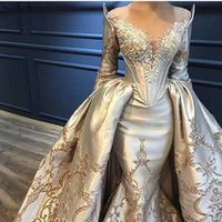 Wholesale golden prom dresses resale online - 2020 Dignified Golden Beaded V Neck Mermaid Prom Dresses With Detachable Train Luxury Long Sleeves Lace Appliqued Evening Dresses