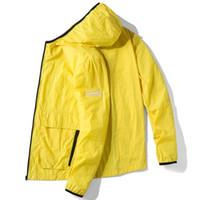 fermuarlar yaz ceketleri toptan satış-Erkekler Ince Kapüşonlu Ceket Rüzgarlık Yaz Rahat Sırf Ceket Fermuar Cepler Erkekler Güneş Koruyucu Hızlı Kuru Streetwear Ceketler