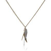 ingrosso collana di bronzo angelo delle ali-2019 bronzo ciondolo moda collana in lega di zinco neutro ornamento angelo ala piuma pendente collana regalo di compleanno di compleanno