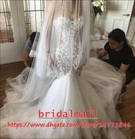 Wholesale plus size mermaid wedding dresses for sale - Robes de mariée African Mermaid Wedding Dresses Sweetheart Appliqued Lace Boho Beach Bridal Gowns Court Train Plus Size Wedding Dress