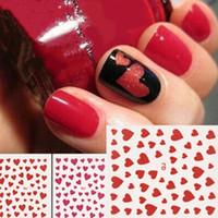 tırnak yüreği tasarımları toptan satış-Sıcak Satış Moda Aşk Kalp Tasarım Nail Art Sticker Çıkartma Manikür Nail İpucu Dekorasyon