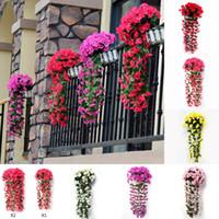 orquideas artificiales al por mayor-Falso fiesta de la boda violeta pared de la flor artificial de la simulación Colgando Orquídea Violeta Parra Seda Flores Inicio Jardín Balcón Decoración