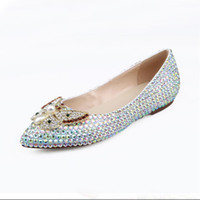 Wholesale colorful wedding flats resale online - Pointed toe bridal shoes colorful rhinestone flats shallow mouth flat heel AB Crystal wedding shoes crystal flats women shoes