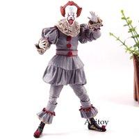 figura dos palhaços venda por atacado-NECA Brinquedos Stephen King É o Palhaço Pennywise Figura PVC Horror Figuras de Ação Brinquedo Modelo Collectible
