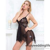 секс полное платье оптовых-Женщины сексуальные Lingeries шнурка очень-Ночные рубашки Sexy зашнуровать Sling ремни Женская пижама Set Thong Sleepwears Плюс размер S-2XL CPA3198