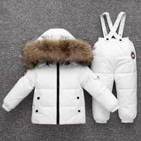 garotas de garotas para baixo conjunto de casaco venda por atacado-Crianças Snowsuit -30 Vestuário Jacket Grau Inverno Russo Baixo Define roupa do bebé dos miúdos para Brasão + Pants Boy Parka Ski Suit