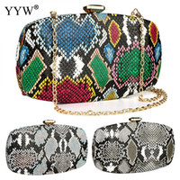 Wholesale party clutches for women resale online - Multi Color Snakeskin Pattern Women Purse And Handbag Evening Party Bag Clutches For Wedding Banquet Large Capacity x130x40mm