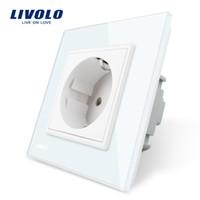 zócalo 16a al por mayor-Livolo EU Standard Power Socket, Panel de cristal blanco, Toma de corriente de pared de 110 ~ 250V 16A, Vidrio templado de lujo
