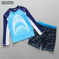 bebê, dois, pedaço, swimsuit venda por atacado-Mais novo Crianças Swimsuit Qualidade Meninos Bebê Anti UV Swimwear Two-pieces Banho Terno Infantil de Secagem Rápida Crianças Beachwear 2-9 Anos