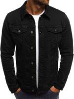 erkekler uzun denim ceketler toptan satış-Erkek Sonbahar Tasarımcı Denim Ceket Laperl Boyun Uzun Kollu Katı Renk Homme Mont Moda Procket Erkek Giyim