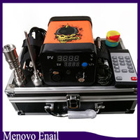 Wholesale electric nail dab rig online - Menovo Electric Titainium Dab Nails Pen Rig Oil Wax Dabbing PID TC Box With Domeless Coil Heaer Dnail Kit Silicone Pad