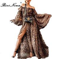 leopard sommer maxi kleider großhandel-Ricinina Slash Neck Sommerkleid Frauen Elegante Langarm Sexy Lange Kleider Frau Sexy Beach Party Kleid Vestidos Plus Größe Q190328