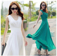 yeşil şifon yeleği elbisesi toptan satış-Pop Güzel Bahar Yelek Yaz Elbise Zarif Pop Moda Tam Uzun Beyaz Yeşil Şifon Uzun Akşam Parti Tank Maxi Elbise