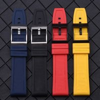 schwarze gummibandarmbänder großhandel-Marke Nature Rubber Watch Strap 22mm Schwarz Blau Rot Yelllow Armband Für Navitimer / Avenger / Band Logo
