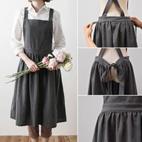 Wholesale hot cotton ladies resale online - Hot Aprons Simple Washed Cotton Uniform Adult Aprons for Woman Lady Kitchen Cooking Gardening Coffee Shop