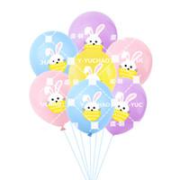 coração verde balões em forma venda por atacado-Azul Rosa Páscoa Balões luz roxa Balões coelho de coelho Balões 12 polegadas Latex Balloon coelho para easter Dia Decoração Festival