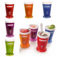 milkshake dondurmalar toptan satış-5 Renkler Yaratıcı Yeni Meyve Suyu Fincan Meyve Kum Dondurma ZOKU Rüşvet Sarsıntı Makinesi Slushy Milkshake Smoothie Fincan CCA11551 60 adet