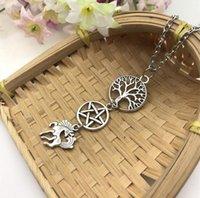 wiccan schmuck halsketten großhandel-Mode Antike Silber Pegasus Wiccan Pentagram Halskette Heidnischen Baum des Lebens Halskette Anhänger Geschenk Frauen Schmuck Freundschaft