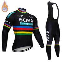 Wholesale cycling jerseys set thermal winter resale online - 2019 BORA Men Long Sleeve Thermal Fleece Cycling Clothing Winter Cycling Jersey Bib Pant Set MTB bike wear Ropa Ciclismo Maillot