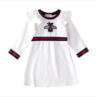 полупансион для девочки оптовых-Baby Girl Платья Юбка детская одежда Домашняя девчонка Хлопковое платье с круглым вырезом с длинными рукавами