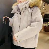 пуловеры из меха оптовых-INS Parkas Winter Jacket Men  2018 Winter Fur Collar Blouse Thickening Coat Pullover Outwear Top Blouse Parka Men Clothes