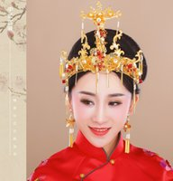 Wholesale chinese bride hair for sale - New Chinese Claasical Bride Headdress Costume Retro Hairpin Long earrings orient bride wedding coronet hair accessories JCE056