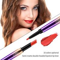Wholesale matte purple lipstick resale online - 16 Color Lip Liner Double Rotating Matte Lipstick Moisturizing Easy Color Lip Gloss Sexy Woman Convenient Makeup Glaze