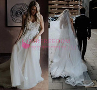 Wholesale princess wedding dress size 12 for sale - Group buy 2020 Chic Strapless Beads Tulle Ivory Wedding Dresses V Neck Lace Appliques Beach Wedding Gowns Custom Made