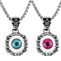 Wholesale bijoux women online - Eyes Pendants Necklaces Turkey Blue Red Devil s Eye Man Woman Skull Statement Necklace Bijoux Gothic Men Necklace