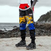 joggerhose koreanisch großhandel-Coole Koreanische Hosen Männer Hip Hop Grafikdruck Bleistift Hosen Gelb Casual Hosen Fitness Jogger Männer Mode Punk Sweatpants Männlich