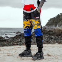 ingrosso moda coreana maschile hip hop-Raffreddare pantaloni coreani uomini Hip Hop Graphic stampa pantaloni a matita giallo pantaloni casual fitness jogging uomini moda pantaloni sportivi punk maschile