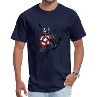 ingrosso tessuto capitano america-Il capitano Graffiti Superhero stupefacenti dell'America magliette tessuto casuale di nuovo modo Tee Shirts Geek Men maglietta punk formato XS-3XL