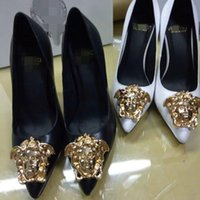 Wholesale t buckle sandals resale online - Brand New Medusa Woman Shoes Summer Buckle Strap Rivet Sandals High heeled Shoes Pointed toe Fashion Wedding Shoes Single High heel