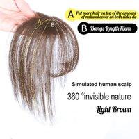 frange de cheveux bruns achat en gros de-3D Fringe Bangs Human Hair Extension Topper clip Dans Couronne postiche avec des temples pour les femmes court angle Brown