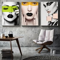 Wholesale art painting beautiful girls pictures resale online - Modern Girl Posters and Prints Wall Art Fashion Beautiful Woman Canvas Painting Nordic Picture for Living Room Decorative