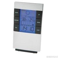 светодиодный гигрометр оптовых-Новый цифровой синий светодиод подсветка измеритель температуры и влажности термометр часы гигрометр