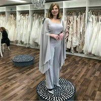 Wholesale red chiffon cape resale online - Three Pieces Grey Mother of the Bride Pant Suits Square Neck Beaded Sequined Ankle Length Outfit With Cape Chiffon Formal Clothes