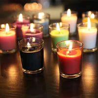mum çayı fincanları toptan satış-Cam Bardak Mum Çubuk Kilise Dini Faaliyetler Çay Işık Tutucu Yatak Odası Kokulu Mumlar Tutucu 10 Parça DHL