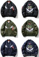 ingrosso ali di design-Giacca uniforme da baseball ricamata Yokosuka Double Crane Wings Flying Suit Justin Biebe Bf Ma1 Design Retro Coat Yeezus Kanye West