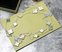 stein halskette materialien groihandel-90cm Pullover Halskette Messing Material Halskette in 1.2cm 1.4cm 1.6cm Blume mit der Natur Shell und Stein für Frauen Hochzeit Schmuck Geschenk PS6006